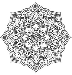 mandala design for coloring isolated on white vector image