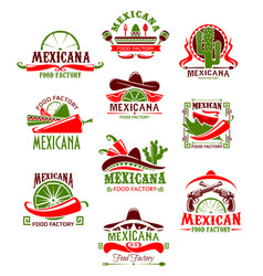 Mexican restaurant sign with pepper and sombrero vector