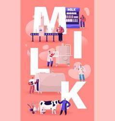 Milk production manufacturing concept conveyor vector