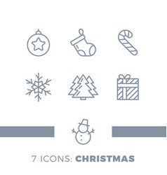 modern christmas holiday thin line flat design vector image