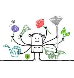 Multitasking cartoon gardener with many arms vector