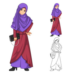 Muslim Woman Fashion Wearing Purple Veil or Scarf vector image