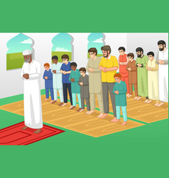 Muslims praying in a mosque vector