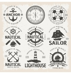 Nautical Emblem Set In Color vector image