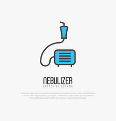 Nebulizer thin line icon from asthma vector