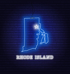 neon map state rhode island on a brick wall vector image