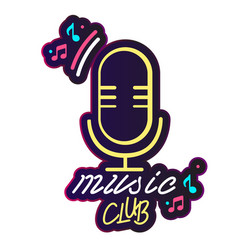 neon music club retro microphone background vector image