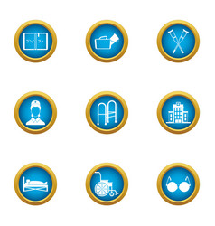 Nursing icons set flat style vector