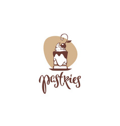 Pastries bakery logo emblem with lettering vector