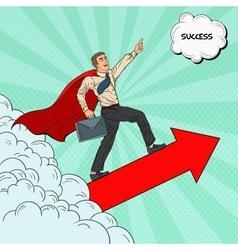 Pop Art Hero Super Businessman Flying vector image