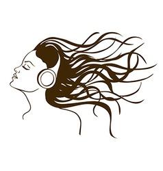 portrait girl listening to music vector image