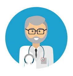 professional doctor with glasses uniform and vector image