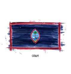 Realistic watercolor painting flag guam vector