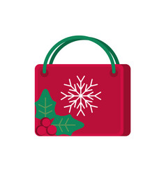 Red shopping bag snowflake decoration happy vector