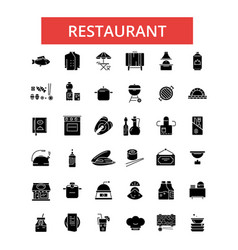 restaurant food thin line icons vector image