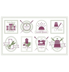 Retro Tailor Labels or Needleworks Emblems vector