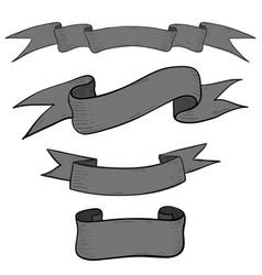 ribbon banners hand drawn gray sketch vector image