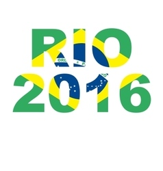 Rio 2016 brazil text flag vector image
