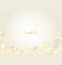 Seashell and starfish gold color doodle border vector
