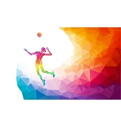 Serving female volleyball player vector