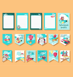 set cards with pilot animals and travel vector image