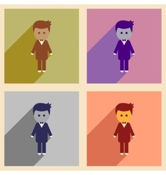 Set of flat web icons with long shadow groom vector