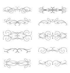 set of various curl black elements vector image