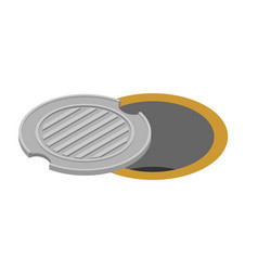 Sewer hatch open manhole cover well hatch vector