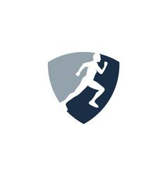 shield run logo icon design vector image