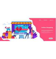 shopping landing page online and mobile vector image