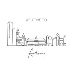 Single continuous line drawing antwerp city vector