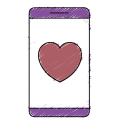 Smartphone with cardiology app vector