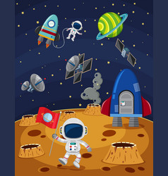 space scene with astronauts and spaceships vector image
