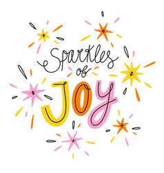 sparkles joy colorful lettering vector image