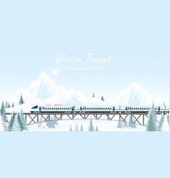 speed train on railway bridge on winter landscape vector image