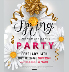 Spring party flyer chamomile flower vector