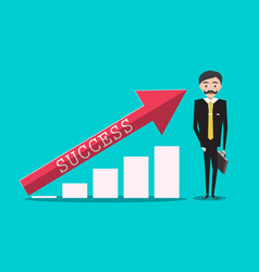 success in business with red arrow o graph and vector image