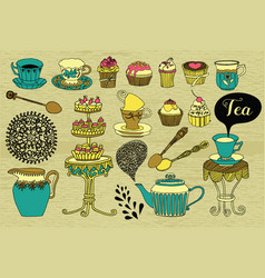 Tea cakes and sweets vector