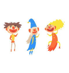 Three cheerful holidays clowns in colorful clothes vector