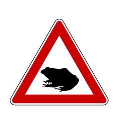 Toad migration warning sign vector
