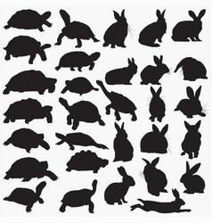 Tortoise rabbit silhouettes vector