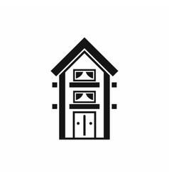 Two-storey house with balconies icon simple style vector