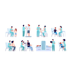 Vaccination flat pediatrician kids vaccine young vector