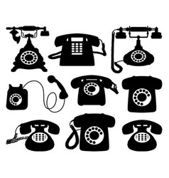 vintage telephone silhouettes vector image