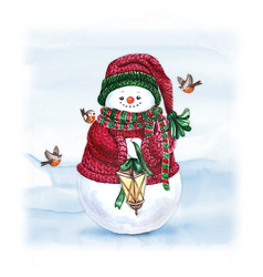 Watercolor snowman with lantern holiday vector