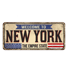 Welcome to new york vintage rusty metal sign vector
