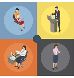 working moments on business coaching four icons vector image