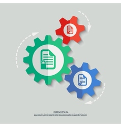 color cogwheels with document icons vector image