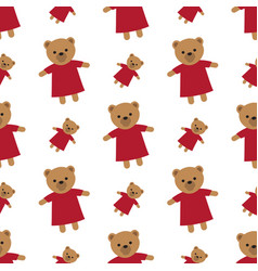 endless white texture with brown teddy bears vector image vector image