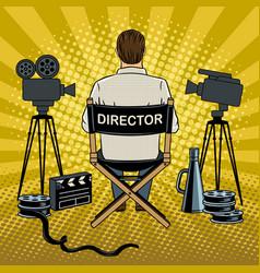stage director on set pop art vector image